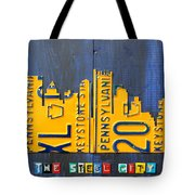 Pittsburgh Skyline License Plate Art Tote Bag by Design Turnpike