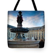 Place De La Bourse Buildings At Dusk Tote Bag
