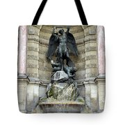 Place Saint Michel Statue And Fountain In Paris France Tote Bag