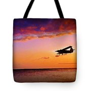 Plane Pass At Sunset Tote Bag
