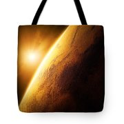 Planet Mars Close-up With Sunrise Tote Bag
