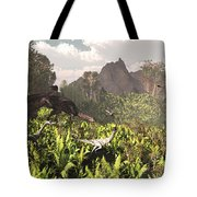 Plateosaurus And Ceolophysis Dinosaurs Tote Bag