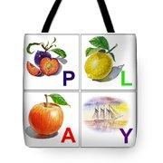 Play Art Alphabet For Kids Room Tote Bag by Irina Sztukowski