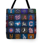 Play Ball Recycled Vintage Baseball Team Logo License Plate Art Tote Bag