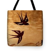 Playful Swallows Original Coffee Painting Tote Bag