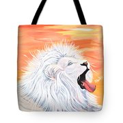 Playful White Lion Tote Bag