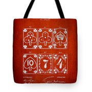 Playing Cards  Patent Drawing From 1877 - Red Tote Bag