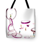 Playing Golf Among Onion Rings Little People On Food Tote Bag