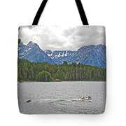 Playing In Colter Bay In Grand Teton National Park-wyoming Tote Bag