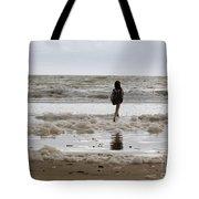Girl Playing In Sea Foam Tote Bag