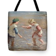 Playing In The Shallows Tote Bag by William Marshall Brown