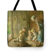 Playing Jacks On The Doorstep Tote Bag by Bernardus Johannes Blommers