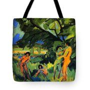 Playing Nudes Under Trees Tote Bag