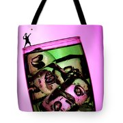 Playing Tennis On A Cup Of Lemonade Little People On Food Tote Bag