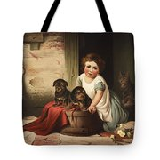 Playing With Friends Circa 1850 Tote Bag by Aged Pixel