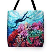 Playing With The Sea Turtles Tote Bag