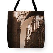 Plaza De Armas   Arequipa    Peru - Sepia Tote Bag