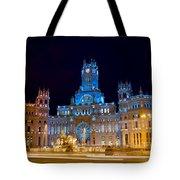 Plaza De Cibeles At Night In Madrid Tote Bag