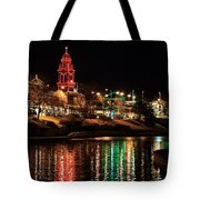 Plaza Time Tower Night Reflection Tote Bag