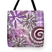 Plum And Grey Garden- Abstract Flower Painting Tote Bag