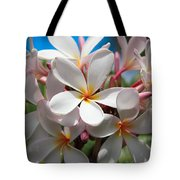 Plumerias Under A Blue Sky Tote Bag