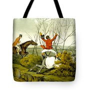 Plunging Through The Hedge From Qualified Horses And Unqualified Riders Tote Bag by Henry Thomas Alken