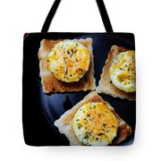 Poached Eggs On A Raft Tote Bag by Andee Design