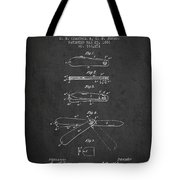Pocket Knife Patent Drawing From 1886 - Dark Tote Bag
