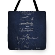 Pocket Knife Patent Drawing From 1886 - Navy Blue Tote Bag
