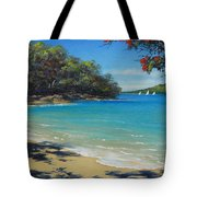 Pohutukawa Nz - Beach And Rangitoto  Tote Bag