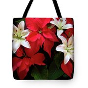 Poinsettia And Lilies Tote Bag