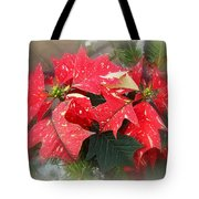 Poinsettia In Red And White Tote Bag