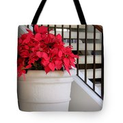 Poinsettias By The Stairway Tote Bag