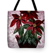 Poinsettias Expressive Brushstrokes Tote Bag