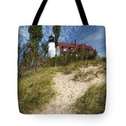 Point Betsie Lighthouse On Lake Michigan Tote Bag