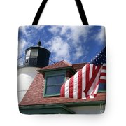 Point Betsie Lighthouse With Flag Tote Bag