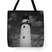 Pointe Aux Barques Lighthouse Black And White Tote Bag