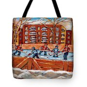 Pointe St. Charles Hockey Rink Southwest Montreal Winter City Scenes Paintings Tote Bag
