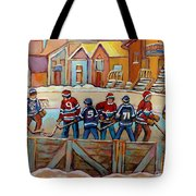 Pointe St. Charles Hockey Rinks Near Row Houses Montreal Winter City Scenes Tote Bag