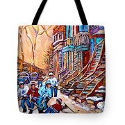 Pointe St.charles Hockey Game Near Winding Staircases Montreal Winter City Scenes Tote Bag