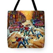 Pointe St.charles Hockey Game Winter Street Scenes Paintings Tote Bag