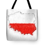 Poland Painted Flag Map Tote Bag