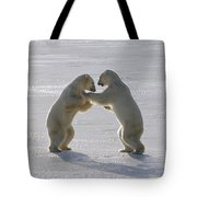 Polar Bear Pair Sparring Churchill Tote Bag