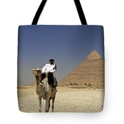 Police Officer On A Camel In Front Of Pyramid In Cairo Egypt Tote Bag