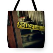 Police Tape Blocking Bloody Stairs Tote Bag