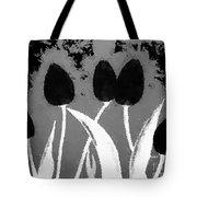 Polka Dot Black Tulips Tote Bag