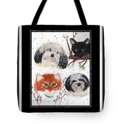 Polka Dot Family Pets With Borders - Whimsical Art Tote Bag