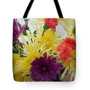 Polka Dot Mums And Carnations Tote Bag