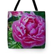 Polka Dot Pink Peony Tote Bag