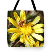 Pollen-laden Bee On Yellow Daisy Tote Bag